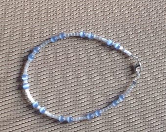 Bracelet glass Pearl and blue cat's eye