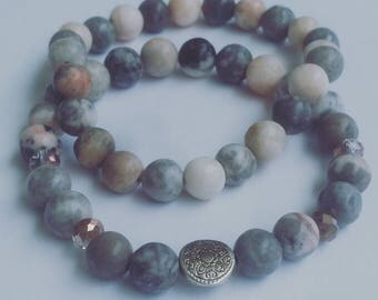 Gray Marbled Stackable Beaded Bracelet Set