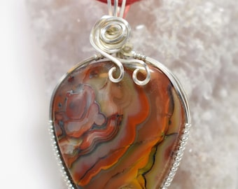 Stunning Crazy Lace Agate Pendant-Wrapped in .935 Argentium Silver Wire