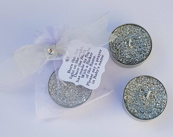 Silver or gold glitter tealight baby shower wedding christening party favours with poem tag