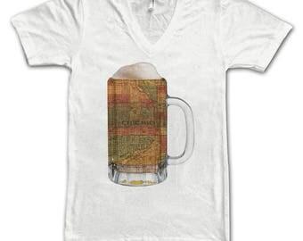 Ladies  Chicago Map Beer Mug Tee, Vintage City Maps Beer Mug Tees, Beer T-Shirt, Beer Thinkers, Beer Lovers, Cities, Beer Lover Tees