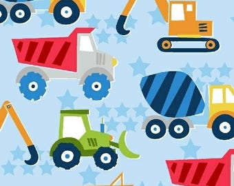 Trucks Fabric from Windham Fabrics, The Big Dig Fabric Collection by Whistler Studios ,  100 % cotton, Quilting Fabrics, Sewing