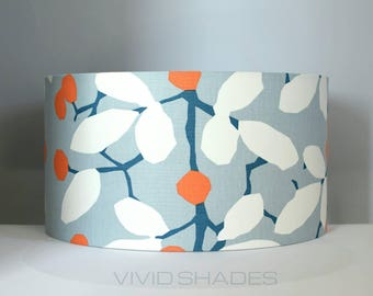 Floral lampshade in colourful and stylish high quality U.K. fabric handmade by vivid shades, retro floral flower petal pattern custom 40 cm
