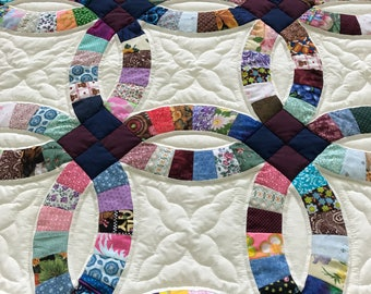 Double Wedding Ring Quilt 108x108 Amish Made Hand Quilted High Quality Heirloom Piece