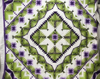 Eureka Quilt Top Hand Quilted Hand Pieced by Amish Quilters Green Purple King Size