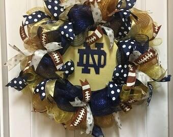 Notre Dame Football Wreath. Fighting Irish Wreath. Indiana Wreath.  Graduation Wreath. Football Door Wreath. Notre Dame Decor. Football