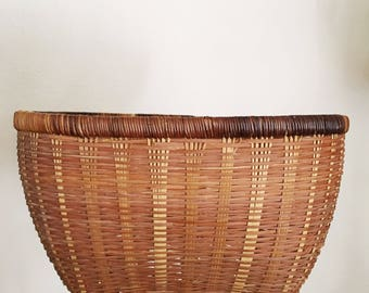 Vintage Woven Bamboo Storage / House Plant / Bohemian Decor Basket