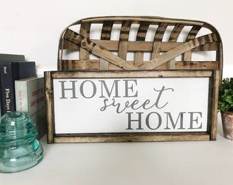 Home Sweet Home Sign, Welcome Sign, Farmhouse Decor, Kitchen Decor, Housewarming Gift, Rustic Wool Sign, Gallery Wall Sign