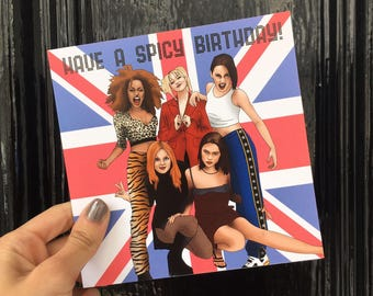 """Central 23 Spice Girls Birthday Card """"Have A Spicy Birthday"""""""