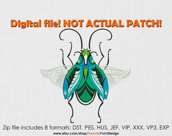 Beetle machine embroidery design. Bug. Insect. Boho. Embroidery file