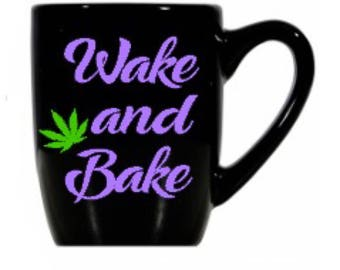 Wake and Bake, lavender, Marijuana Leaf black coffee cup- lavender font, cannabis, weed, accessories, novelty, gifts