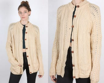 Vintage Cable Knit Cardigan // 70s 80s Button Up Wool Knit Sweater Irish Womens - Medium to Large