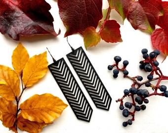 TIKKA laser cut wood earrings / red earrings / geometric earrings / wooden drop earrings / tribal earrings