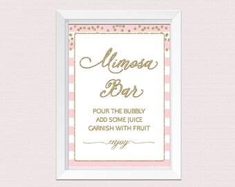 MIMOSA BAR SIGN, Printable Mimosa Bar Sign, Pink Gold Bridal Shower, Brunch Bubbly Decorations, Blush Pink Gold Decor, pink gold sign B12