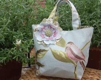 Beautiful Handcrafted Linen Handbag with Gorgeous Flower Detail