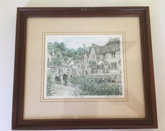 Vintage watercolor limited edition 131/850 lithograph hand signed/titled/numbered British artist Glyn Martin, Castle Combe framed/matted.