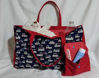 Tote bag / diaper bag and pouch patterns cars
