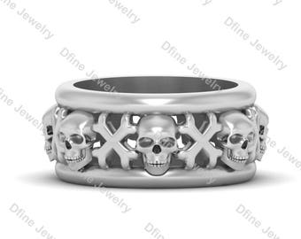 Memento Mori Inspired Human Skull Crossbones Gothic Wedding Band Anniversary Gift Stylish Biker Ring