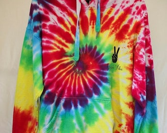 25% OFF ENTIRE SHOP Adult Size M - Ready To Ship - Unisex - Tie Dyed - Hoodie Jumper - 100 Percent Cotton - Polar Fleece - Free Shipping wit