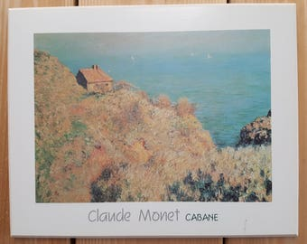 Vintage Claude Monet Cabane Fine Arts Reproduction Frameless Print Plaque Block Mounted on MDF Wood Wall Hanging Impressionist