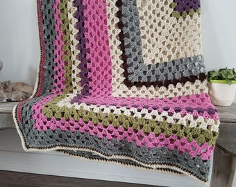 """Vintage Rustic Afghan Crochet Knit Throw Blanket / 76"""" x 76"""" / Couch Cabin Rustic / Bedding Bed Coverlet Square inside Square Color Block"""