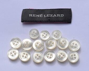 15 pcs Rene Lezard white branded plastic buttons // 34 pcs white pearls plastic buttons // 15 pcs Calvin Klein white branded plastic buttons