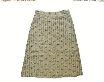 Vintage Distler ® Original women skirt 100% linen floral print metal buttons size 46