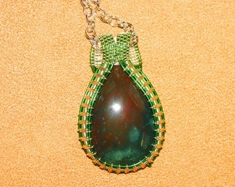 285 Spaced diamond weaved green and silver maroon and green agate