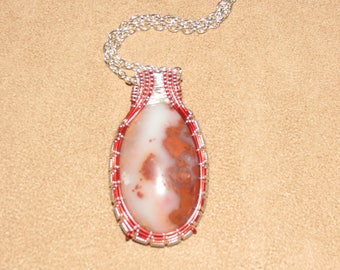 302 Tulip weaved red and silver crazy lace teardrop agate
