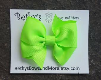 Neon Green Hair Bows, Neon Bows, Toddler Hair Clips, 4 Inch Hair Bow Clips, Summer Hair Bows, Girls Hair Bows, Toddler Hair Bows, Baby bow