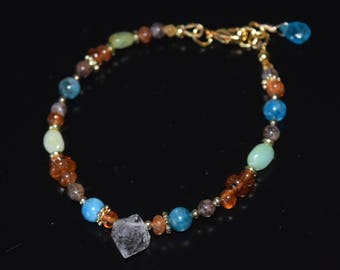 Spiritual Attuning Bracelet ~ Herkimer Diamond Quartz, Apatite, Sunstone, Peruvian Opal Bracelet~ Handmade Beaded Stone Bracelet