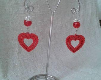 red wood heart earrings