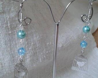 "beautiful ""bird in cage"" earrings"