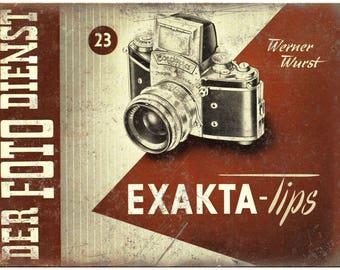 """Exakta Lips 35 mm Camera Ad 10"""" x 7"""" Retro Look Metal Sign"""