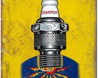 "Porcelain Look Champion Spark Plug Service 10"" x 7"" Reproduction Metal Sign"