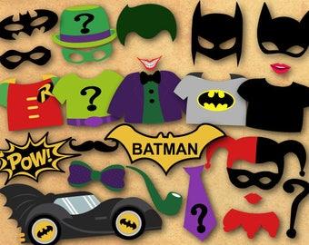 Printable Batman Photo Booth Props, Batman Party Photo Booth Props, Instant Download Superhero Party Photo Booth Props, Superhero Props 0399