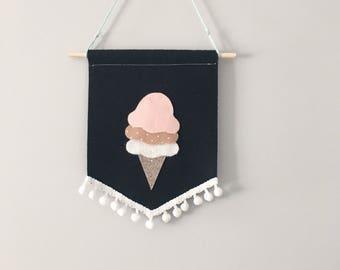 Glitter Neapolitan ice cream banner , felt icecream banner , felt icecream , felt babber , nursery banner