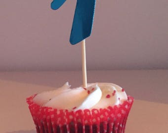 Number 1 cupcake toppers. Party decorations.