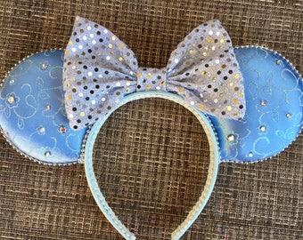 Cinderella inspired Mickey eas, sparkle Cinderella Minnie ears, Disney Mickey Mouse ears