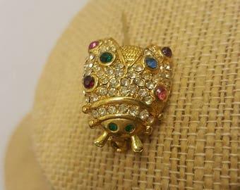 Gold Beetle Brooch Multi Crystal