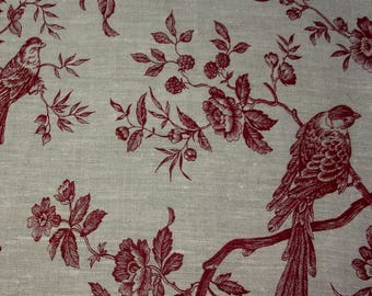 Vintage fabric or vintage impessions French toile de Jouy, birds