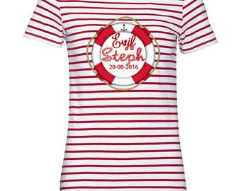 Sailor shirt personalized bachelorette party buoy Navy red and white