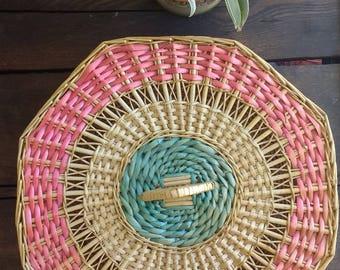 Vintage Octagon shaped basket, storage basket