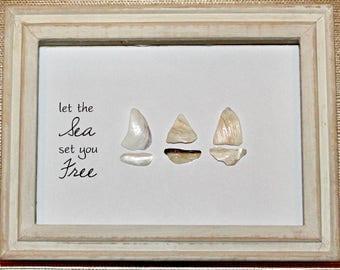Seashell sailboats shadow box art