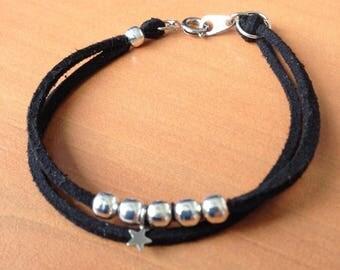 Black suedine bracelet