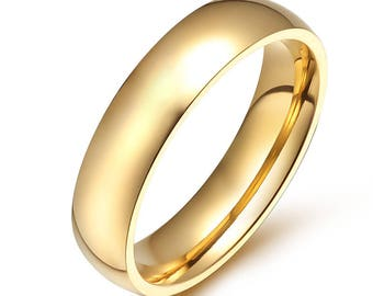classic stainless stell ring simple wedding ringsainless steel ring gold unisex wedding - Wedding Ring Gold