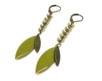 "Enamelled sequin chain Spike ""bronze/khaki"" chic and trendy earrings"
