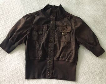 Cute Vintage Brown High Waist Bomber Jacket, Small