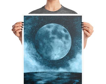 Blue To The Moon Surreal Space Art Poster, 8x10, 16X20, Abstract Modern Print