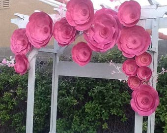 Beautiful two-toned pink giant paper wall flower backdrop